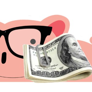 smart piggybank with $1000 cash