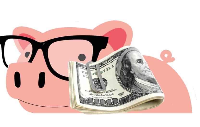 smart piggybank with $1000 cash