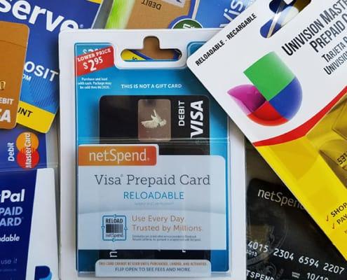 A pile of reloadable prepaid debit cards