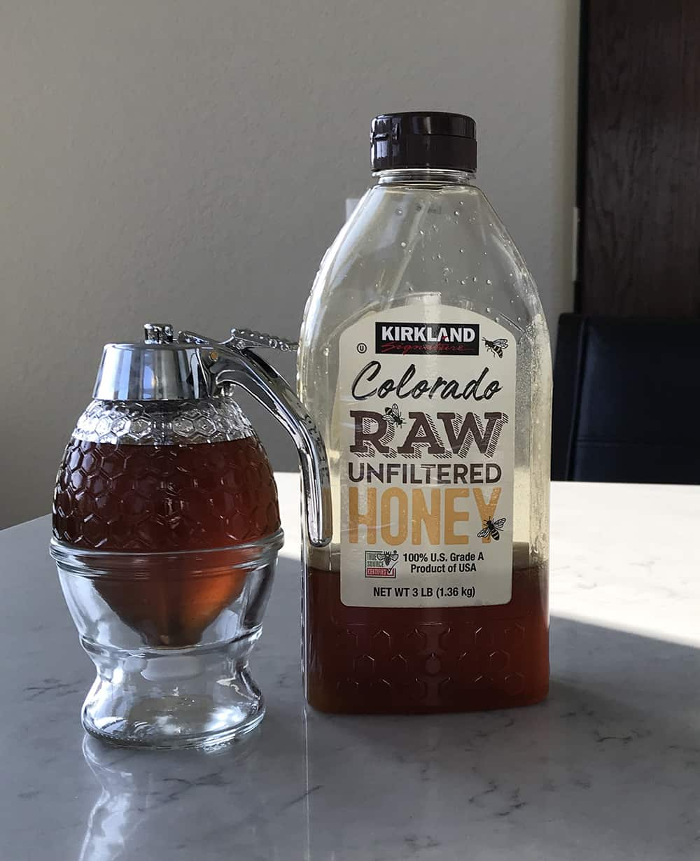 Crystallized honey liquefied using the sous vide method
