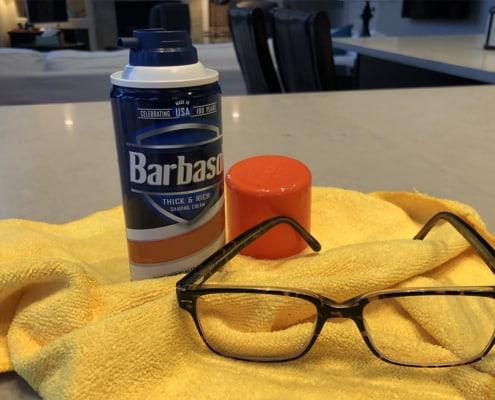shave foam defog eyeglasses