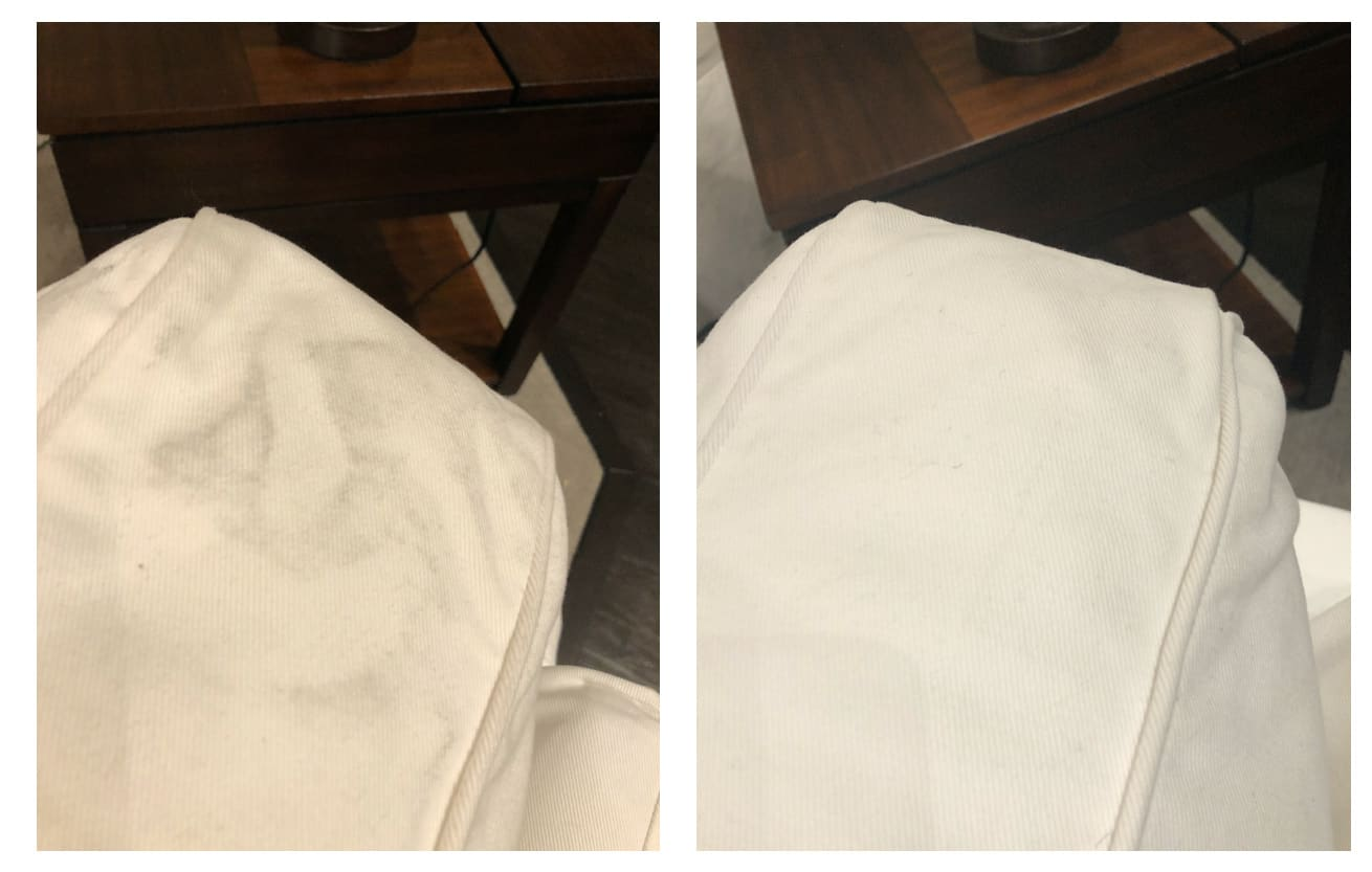 chair seat before after cleaning