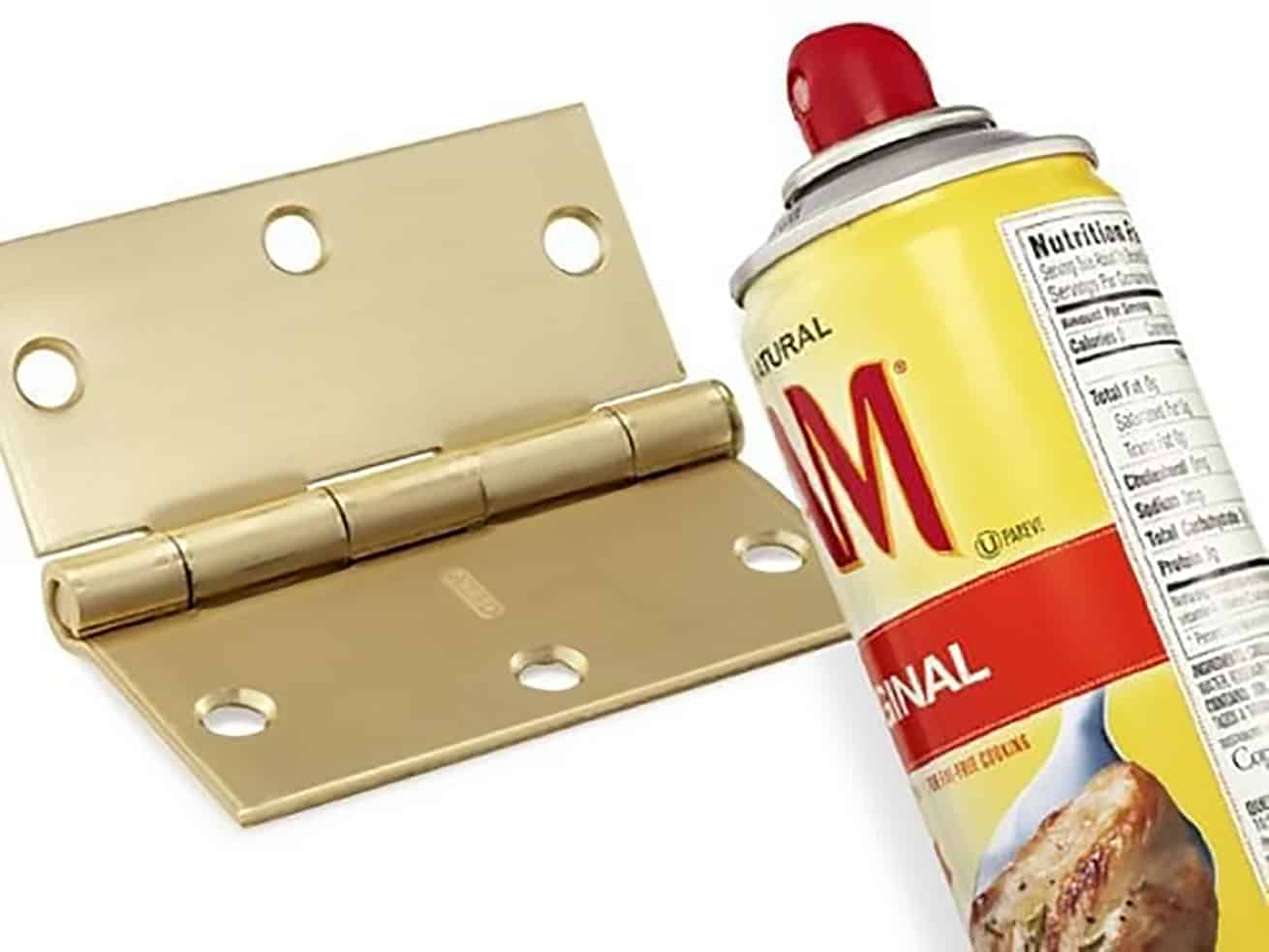 household substitute cooking spray to fix a brass squeaky hinge
