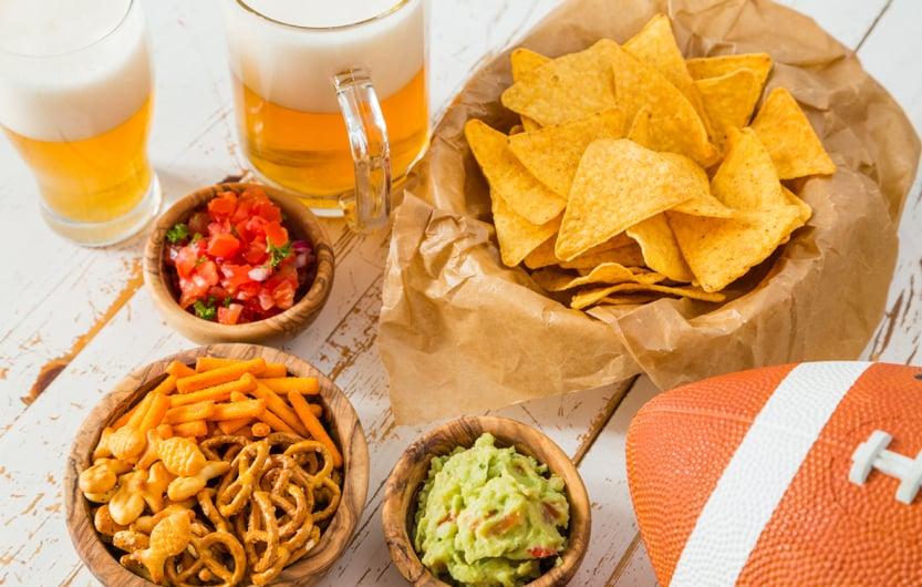 Football party food, super bowl day, nachos salsa guacamole
