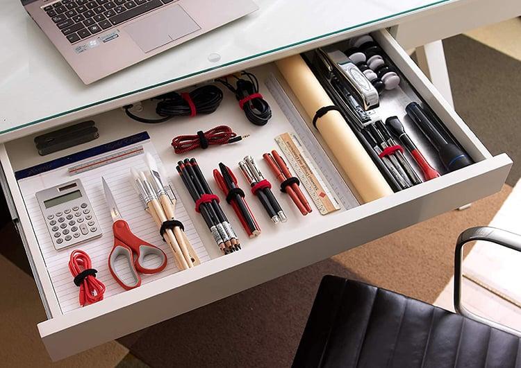 thin ties keep stuff organized