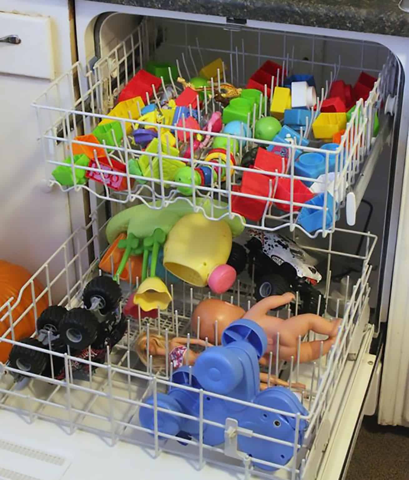 toys getting sanitized and cleaned in the dishwasher