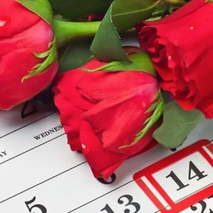 valentines day roses and calendar reminder