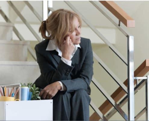 woman distressed job loss