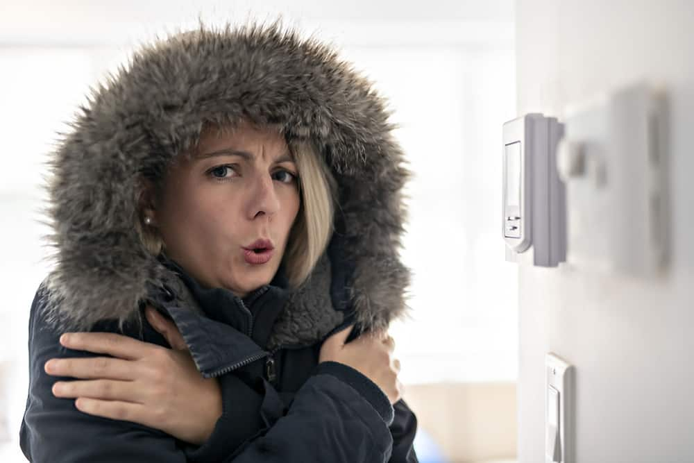 A Woman With Warm Clothing Feeling The Cold Inside House